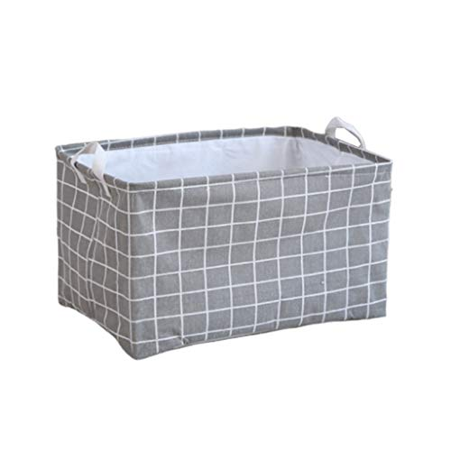 Fan-Ling Waterproof Canvas Sheets Laundry Clothes Laundry Basket Storage Basket Folding Storage Box,Waterproof Storage Basket for Storing Parts, Stationery, Crafts, Jewelery (Gray)