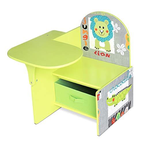 Lalaloom SWEET SEAT - Pupitre Infantil de madera Verde con dibujos para Habitacion, Escritorio Ninos con Asiento y Respaldo con Cajon Multifuncional