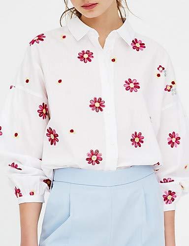 donna Collo YFLTZ da floreale camicia a Camicia Blue 87xTZ