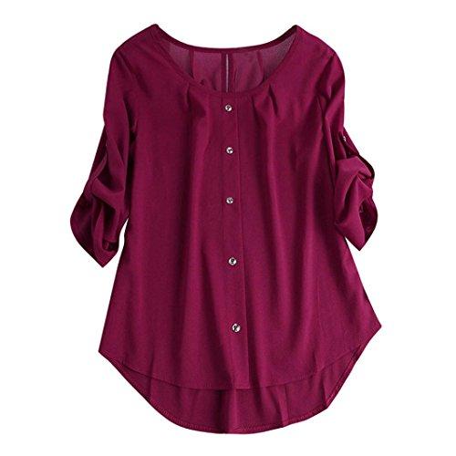 72d3371aa4fe vermers Women Casual Button Down Shirt – Clearance Women Long Sleeve O Neck  Irregular Loose Top Blouse(XL