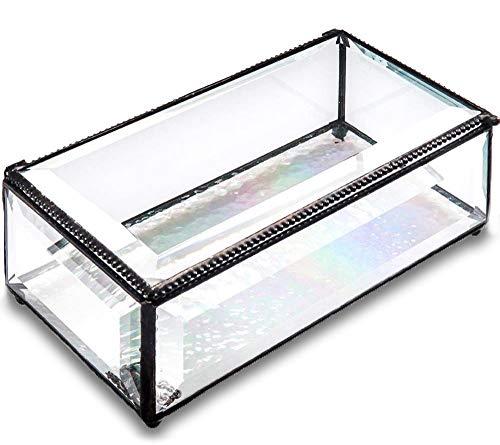 (Utopz Clear Beveled Glass Jewelry Keepsake Box Home Decor Display Vintage Glass Jewelry Organizer, Decorative Accent)