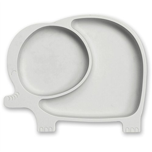 - Sage Spoonfuls Sili Elephant Silicone Suction Divided Toddler Plate, Grey