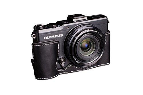 TP OLYMPUS オリンパス XZ-2 (XZ2)用本革カメラケース ブラック B01K4LBYPO カメラケース&ストラップTP1881&バッテリーケース