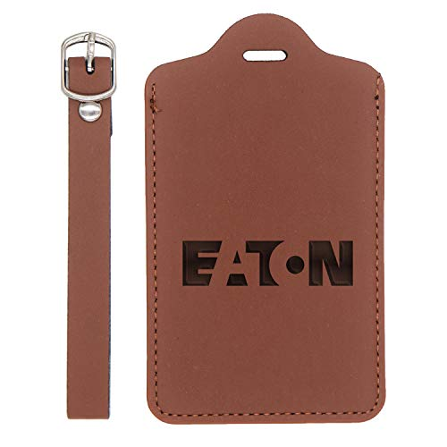LOGO EATON ENGRAVED SYNTHETIC PU LEATHER LUGGAGE TAG (CHESTNUT BROWN) - UNITED STATES STANDARD - HANDCRAFTED BY MASTERCRAFTSMEN - FOR ANY TYPE OF LUGGAGE