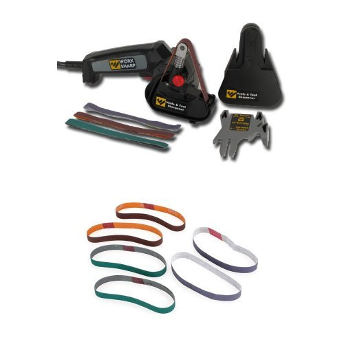 Work Sharp WSKTS Knife and Tool Sharpener and Replacement Belt Kit by Work Sharp