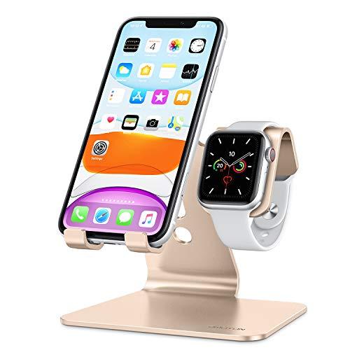 Soporte 2en1 smartphone-Apple watch, antideslizante/DORADO