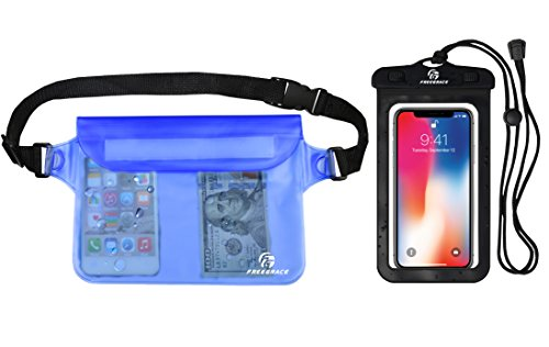 Freegrace Premium Waterproof Pouch Set with Waist/Shoulder Strap - Best Way to Keep Your Phone and Valuables Dry and Safe - Perfect for Boating Swimming Snorkeling Kayaking (Blue + Waterproof Case)