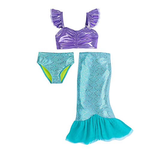(Disney I Am Ariel 3-Piece Deluxe Swimsuit for Girls Blue)
