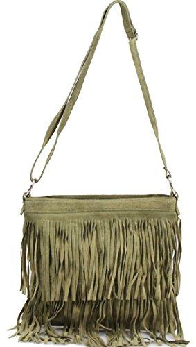 Ladies Suede Leather Tassel Cross Body Messenger Bag Women Shoulder Over Bags Handbags Dark Green