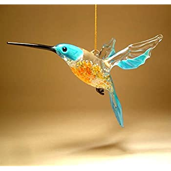 Amazon.com: Hummingbird Lampwork Glass Ornament - Sapphire