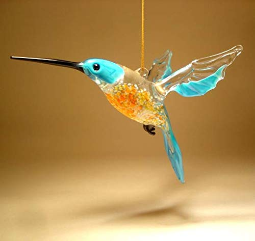 Blue and Red Glass Hanging Hummingbird Ornament