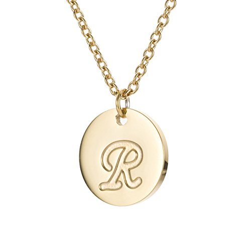 HUAN XUN R Initial Necklace Stainless Steel Disc Link Chain - Gold R R And