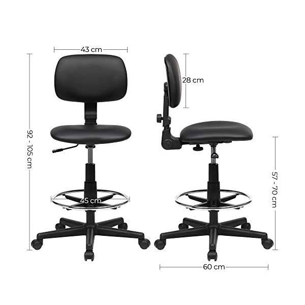 SONGMICS Fauteuil de bureau, Chaise en toile, Siège ergonomique, Tabouret, avec repose-pieds réglable, pivotant à 360…