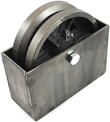 Rueda de hierro fundido con ranura en V de 15 cm con caja de acero ...