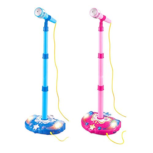 Comaie Kids Karaoke Microphone Musical Toys Touch Music Microphones Childhood Enlightenment Children Adjustable Stand Early Education Single Singing Machine With Flashing Stage Lighting And Pedals