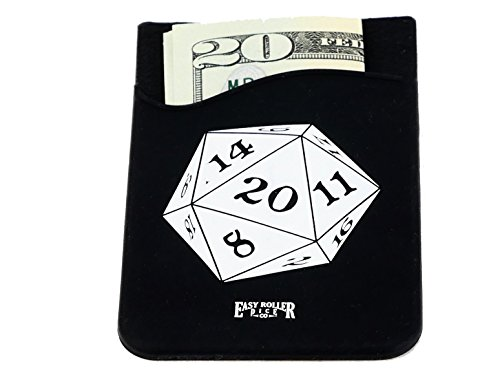 D20 Cell Phone Wallet - 3M Stick On Adhesive - Store Cash or up to 4 Credit Card Size Items (Best Cell Phone Rpg)