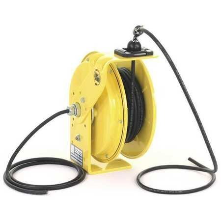 (KH Industries RTB Series ReelTuff Industrial Grade Retractable Power Cord Reel with Black Cable, 16/3 SOOW Cable, 10 Amp, 50' Length, Yellow Powder Coat Finish)