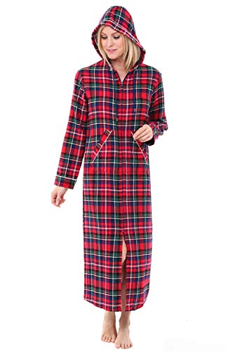 Alexander Del Rossa Womens Hooded Flannel Robe with Zipper, Lightweight Cotton House Coat, Large Blue Red and Green Plaid (A0492Q19LG) ()