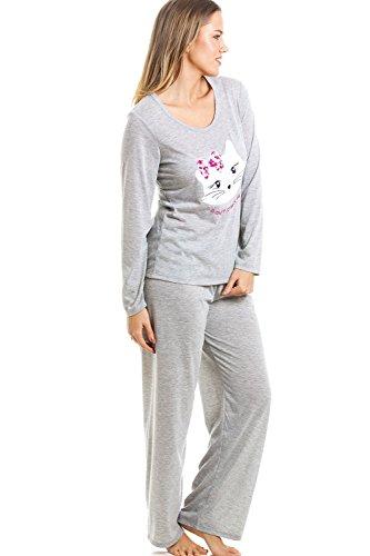 491d8d99ea Langarm-Schlafanzug mit Langer Hose - Katzenmotiv - Grau: Amazon.de:  Bekleidung