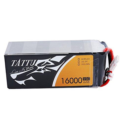 Tattu LiPo Battery Pack 16000mAh 22.2v 15C 6S with EC5 Plug for multirotor like DJI S800 S1000 OnyxStar FOX-C8-HD Gryphon X8 by TATTU