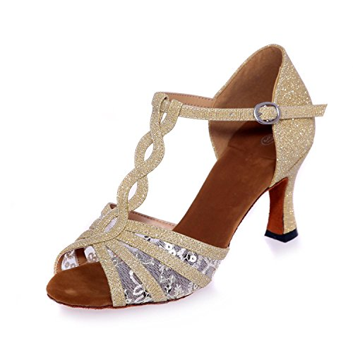 Women'S Heel Satin Dance Customized 5Cm YC Shoes Sandals Can Gold Dance L Be Latin 7 5XwFqWf