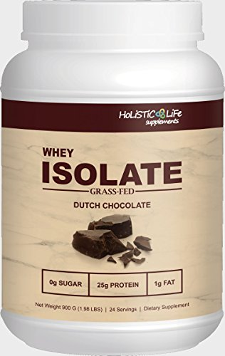 2 lbs Grass Fed Whey Protein Isolate, Dutch Chocolate, All Natural, Low Carb, Highest Quality Ingredients