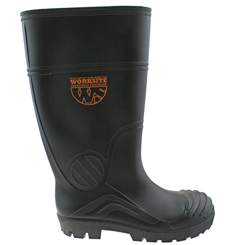 Worksite Mens Black Industrial Safety Steel Toe Cap Wellington Boots UK11 (EU45)