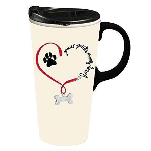 Cypress Home Paw Prints Dog Ceramic Travel Coffee Mug, 17 ounces ()