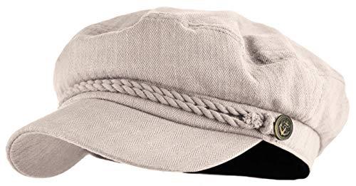 Classic Newsboy Cap Greek Fisherman Sailor Cap Fiddler Cotton Hat (Stone)