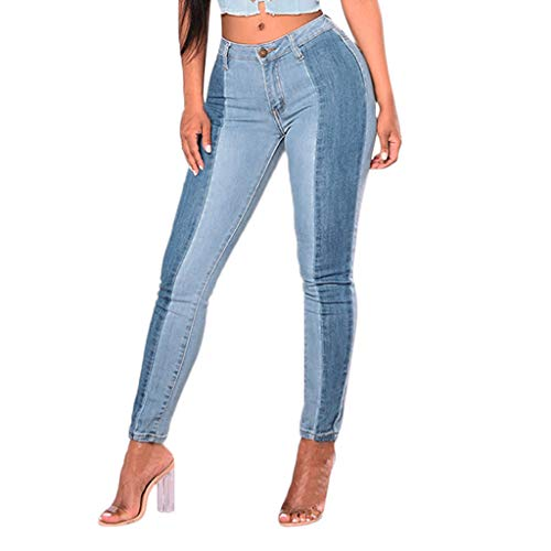 VEZAD Women Casual Denim Patchwork Button Zipper Fly Straight Pencil Jeans Pants -