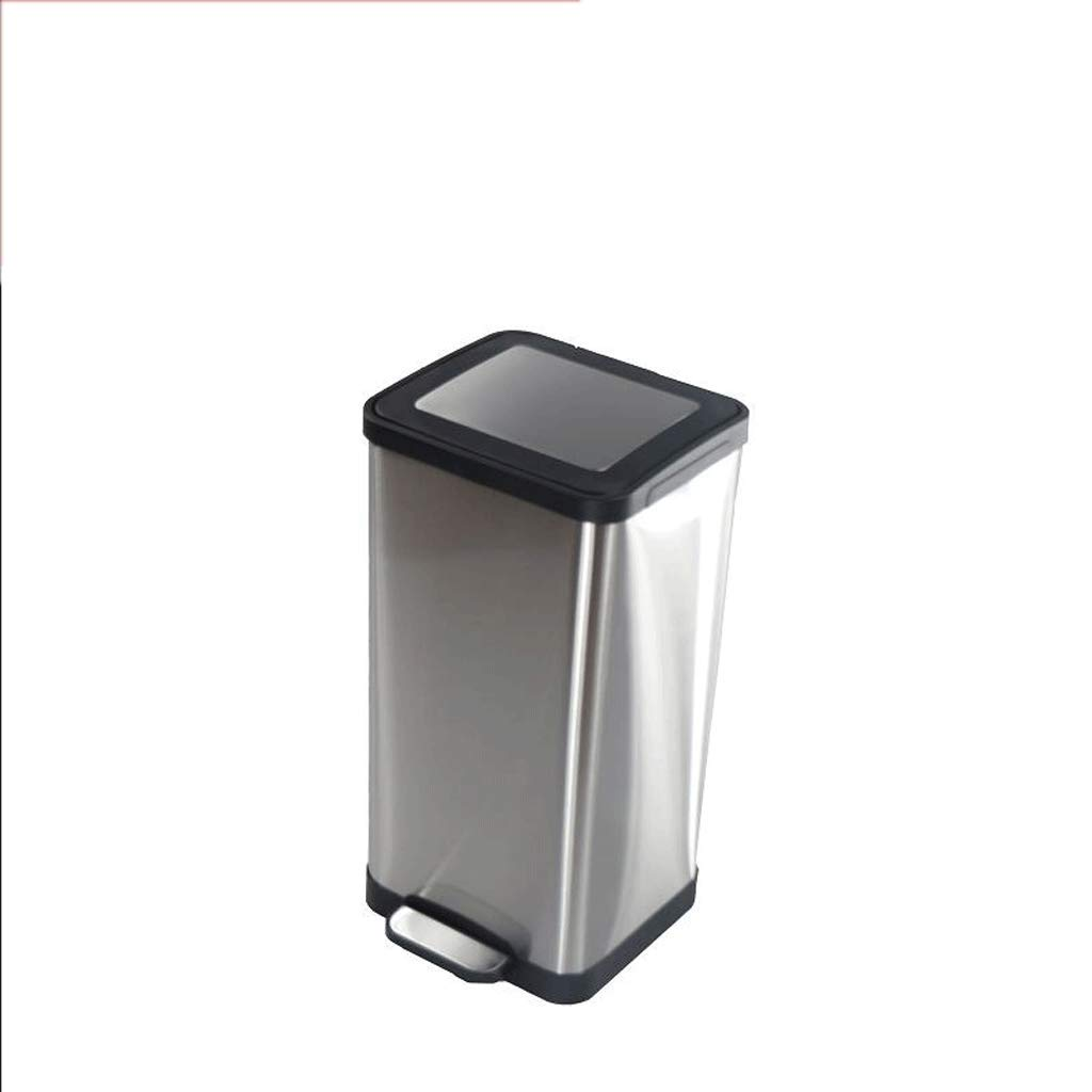 LINGZHIGAN ごみ箱スクエアミュートステンレスペダルホームリビングルームキッチンビンごみ箱15L B07KVQ3Z6J