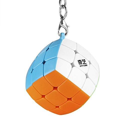 Coogam Qiyi Cube Keychain 3x3 Mini Pocket Cube Key Ring Keyring Puzzle Fidget Toy 1.38in