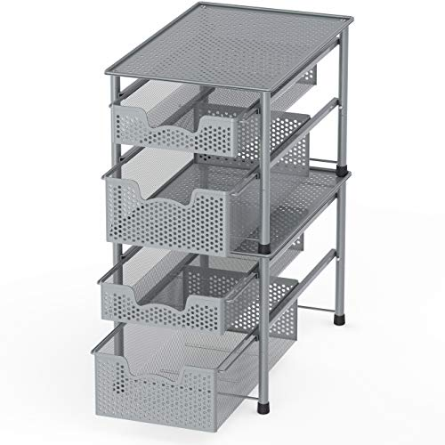 Simple Houseware Stackable 2 Tier Sliding Basket Organizer Drawer, Silver