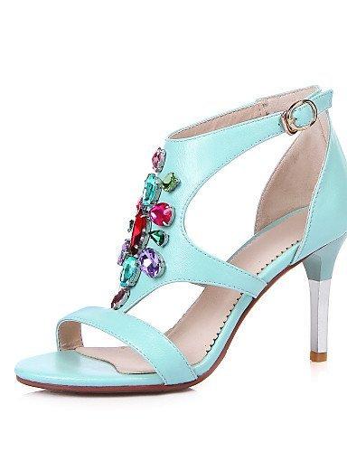 Blau Damenschuhe Weiß Casual Absatz Stiletto Sandalen Weiß ShangYi Kunstleder Schwarz SqwZxW0P