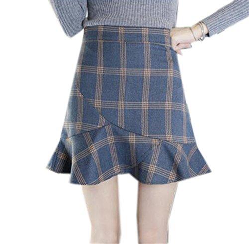 Aoliait Court A Femme Tendance Skirt avec Fit Slim Jupe Dcontracte Jupe Carreaux ElGant Volants Blue1 Line Jupe Femelle Jupe 0E10qrwAx