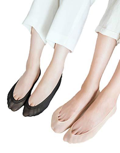 Women's No Show Socks Liner Low Cut Socks Cotton Nylon Boat Socks Hidden Invisible Socks(2 black and 2 beige) ()
