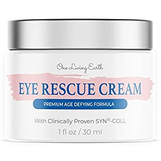 One Living Earth Eye Rescue Cream - Clinically Proven SYN-COLL Collagen-Stimulating Peptide - Anti Aging Formula for Wrinkles, Dark Circles, Fine Lines, Under Eye Bags & Puffiness