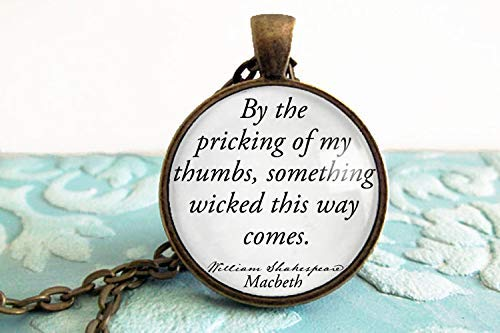 Halloween Book Necklace- William Shakespeare- Rose Gold, Gold, Bronze & Silver Options- Macbeth-