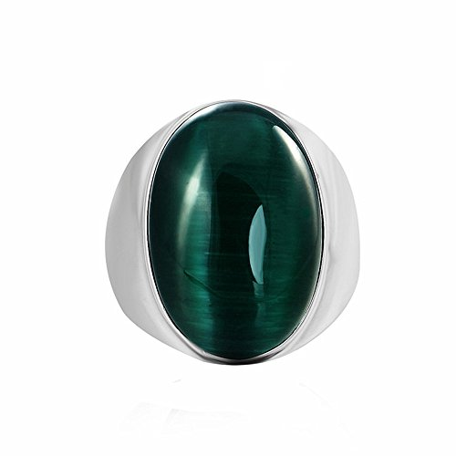 Cat Eye Gemstone Ring (Men's Titanium Steel Oval Cat Eye's Gemstone Diamond Rings,Size 12)
