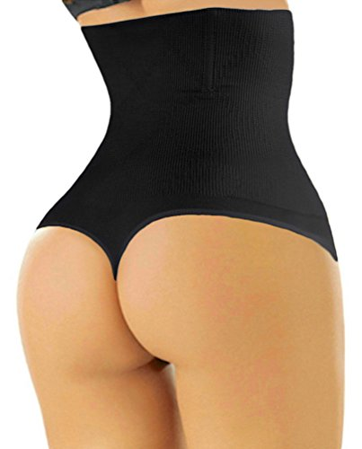 ShaperQueen 102 Thong - Women Waist Cincher Girdle Tummy Slimmer Sexy Thong Panty Shapewear (4XL, Black)