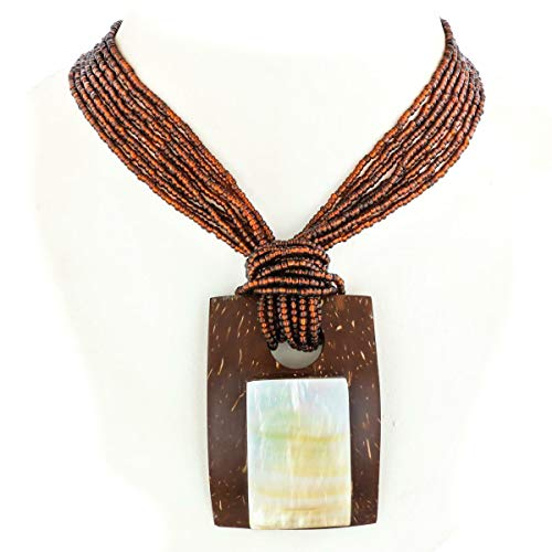2 1/2'' Cool Mother of Pearl Shell Coconut Bronze Beads Necklace YE-2443 (Mother Of Pearl Shell Bronze)