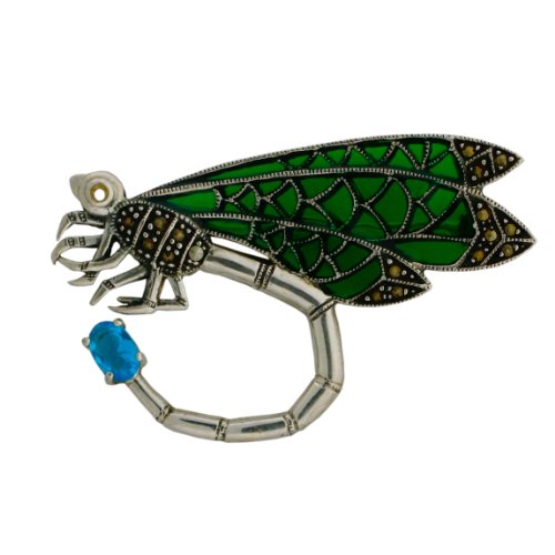 casite, Blue Topaz and Enamel Dragonfly Pin. ()