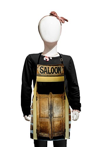 Lunarable Western Kids Apron, Authentic Saloon Doors of Old Western Building in Montana Ghost Town Print, Boys Girls Apron Bib with Adjustable Ties for Cooking Baking and Painting, Mustard Sand Brown ()