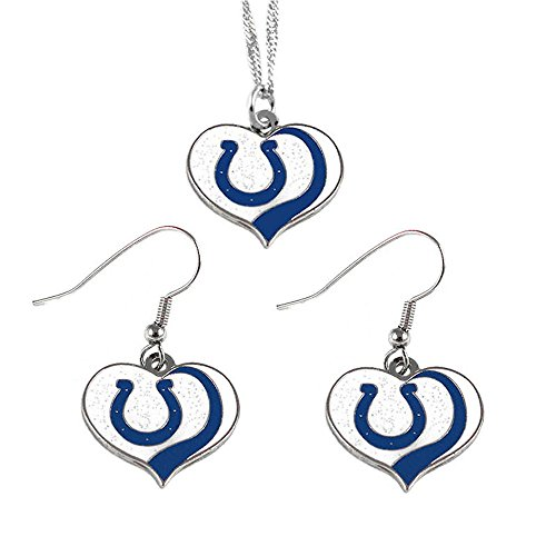 aminco Indianapolis Colts Sports Team Logo Glitter Heart Necklace and Earring Set