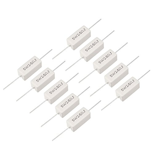 sourcing map 10W 2.5 Ohm Power Resistor Ceramic Cement Resistor Axial Lead 5 Pcs White