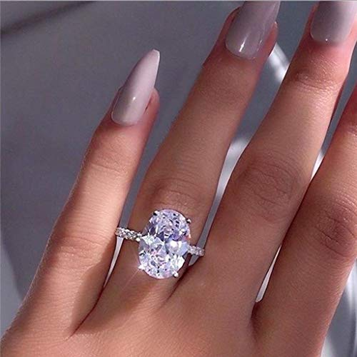 (Peigen Promise Rings,Fashion Simple Luxury Oval White Zircon Ladies Ring Jewelry)