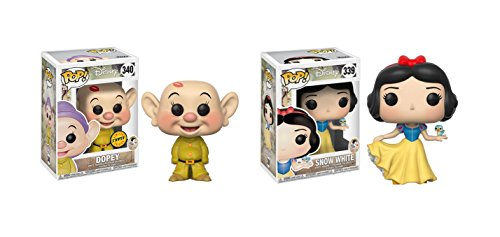 Funko POP! Disney's Snow White and the Seven Dwarfs Dopey Dwarf LIMITED EDITION CHASE and Princess Snow White Toy Action Figure - 2 POP BUNDLE