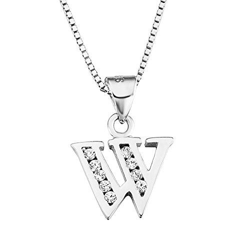 YFN 26 Letters Alphabet Sterling Silver Cubic Zirconia Personalized Charm Pendant Necklace (Alphabet ()