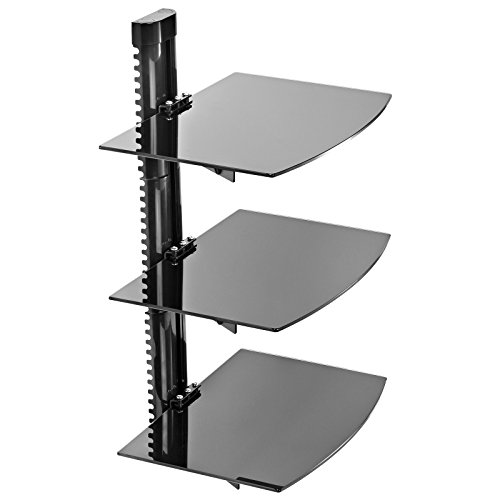 Wall Mount Audio Rack - Mount Factory - Adjustable Wall Mount / Glass Floating AV DVD Component Shelf - 3 Tier - Black
