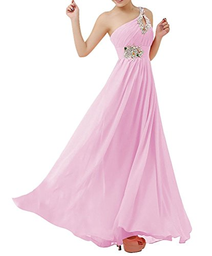 [1AhS50x54A Fashion Women's Chiffon One Shoulder Beaded Bridesmaid Dresses Prom Evening Gown Pink US 12] (Jkara Woman Beaded Chiffon Gown)